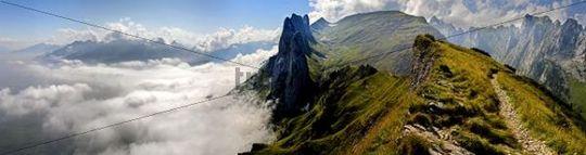 Kreuzberge Mountains in the Alpstein Massif, foggy Rheintal Valley on the left, Appenzellerland, Switzerland, Europe