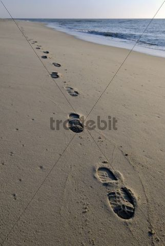 Footprints at the beach, Sylt, Schleswig-Holstein, Germany, Europe