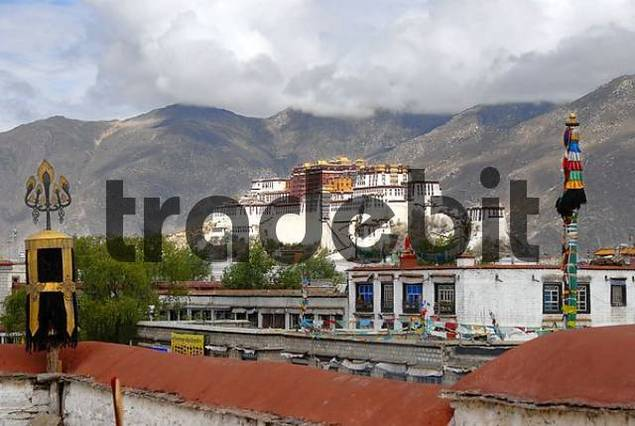 View from the roof of Jokhang Temple to Potala Palace Lhasa Tibet China
