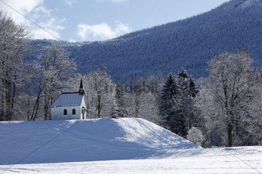 Chapel in Fleck, Lenggries municipality, Isarwinkel, Upper Bavaria, Germany, Europe