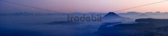 Mt Hohenstoffel in the Hegau, in the back the Swiss Alps, Constance County, Baden-Wuerttemberg, Germany, Europe