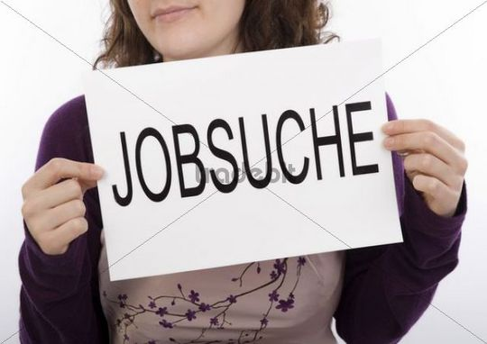 Young woman looking for a job, symbolic picture