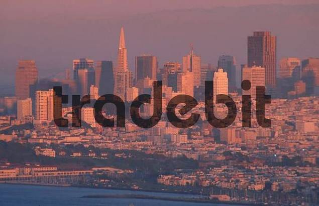Downtown San Francisco in evening light, California, USA