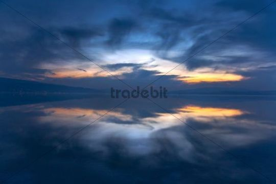 Evening mood over Lake Constance, view from Reichenau Island, Baden-Wuerttemberg, Germany, Europe