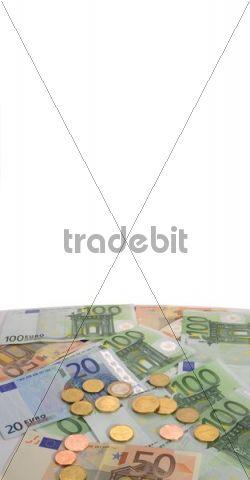 Banknotes, coins, euro