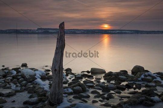 Old jetty on Lake Constance, below the Birnau Monastery, sunset, Baden-Wuerttemberg, Germany