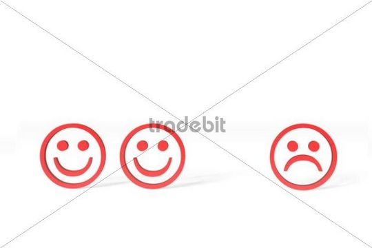 Three red Emoticons, two happy, one sad, 3D illustration