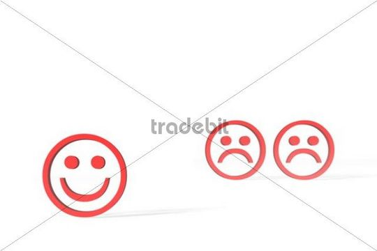 Three red Emoticons, one happy, two sad, 3D illustration