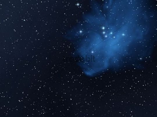 Bluish starry sky with stars and stardust, illustration ...
