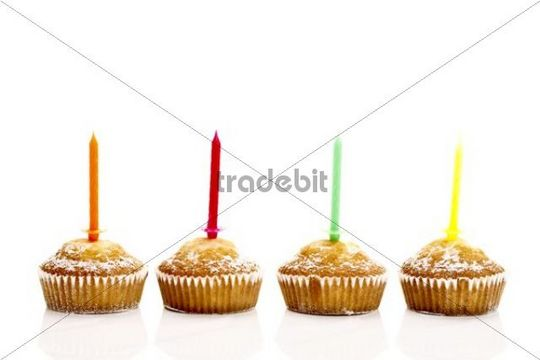 Lemon Muffins With Candles Download Abstract