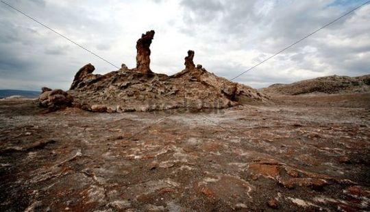 The Three Marias, stone figures sculpted by the wind, Salt Desert, Atacama Desert, Chile