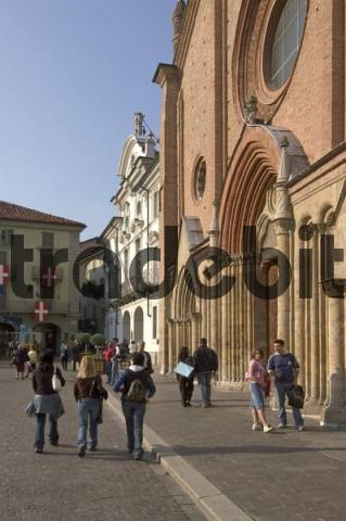 Asti Piedmont Piemonte Italy with flags decorated Piazza S. Secondo with the church S. Secondo