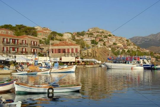 Port with fishing boats and historic town centre with castle, Mithymna, Molyvos or Molivos, Lesbos Island, Aegean Sea, Greece, Europe