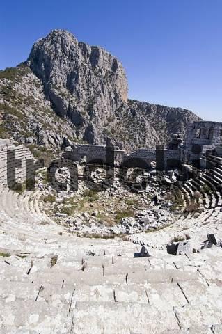 Termessos National Park near Antalya Turkey ancient city Termessos excavations in tne theatre