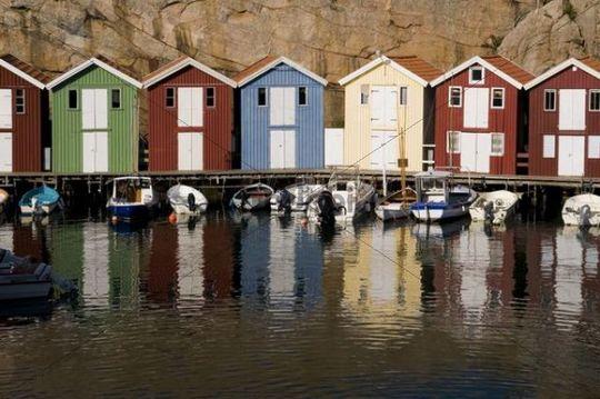 Coloured wooden houses, Smoegen, Bohuslaaen, Sweden