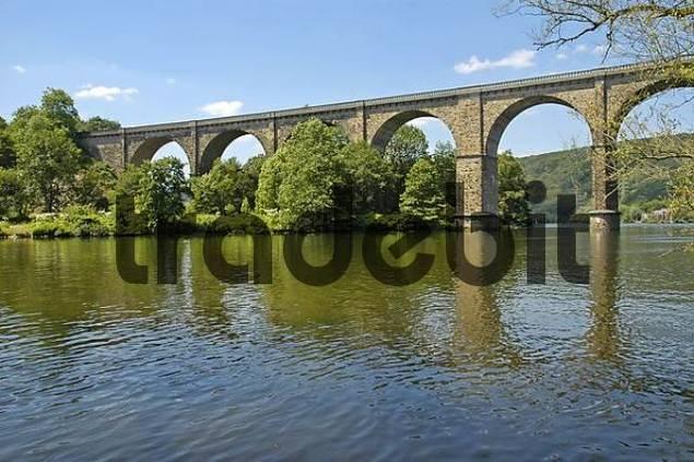 railway bridge, viadict over the Ruhr, built 1877-1878, Herdecke, Dortmund, Ruhr Basin, NRW, Northrhine - Westphalia, Germany