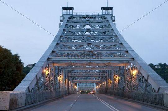"""Blue Wonder"" bridge at dusk, Loschwitz, Dresden, Saxony, Germany"
