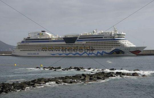 Aida cruise ship, Santa Cruz de la Palma, La Palma, Canary Islands, Spain