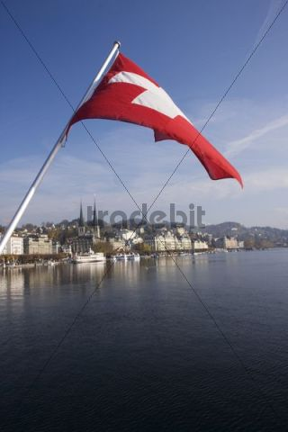Schweizerhofquai quay with promenade, Lucerne, Switzerland