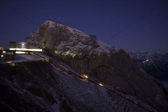 Esel mountain with Hotel Bellevue after sunset, Pilatus mountain range, Lucerne, Switzerland