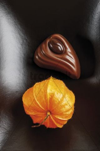 Filled chocolate with decorative Chinese lantern flower