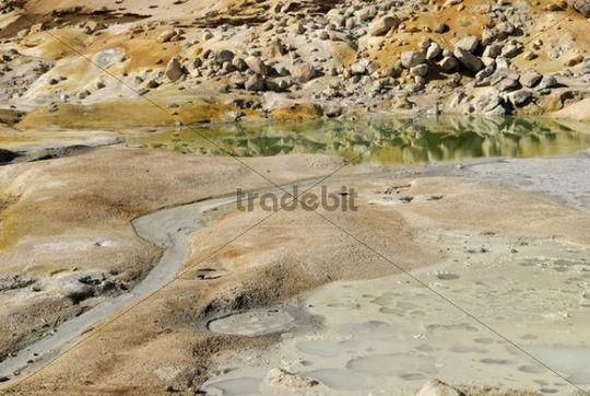 Hot springs with sulphur sediments, Bumpass Hell, solfatare area, Lassen Volcanic National Park, California, USA