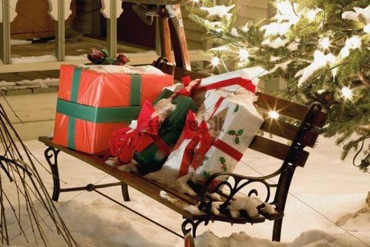 Outdoor Christmas scene