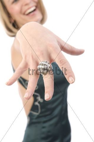 Woman showing a ring on her finger