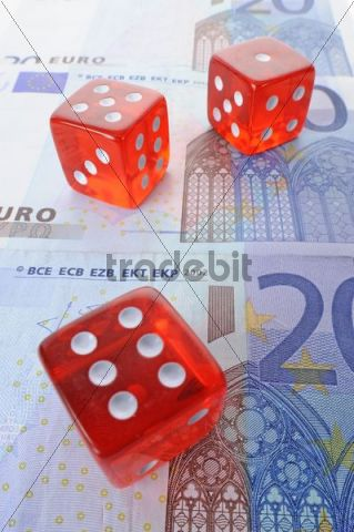 Dice, banknotes, symbolic picture for gambling