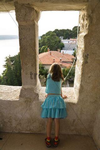 View from the clocktower of St. John the Evangelist Church, Rab, Rab Island, Istria, Croatia, Europe