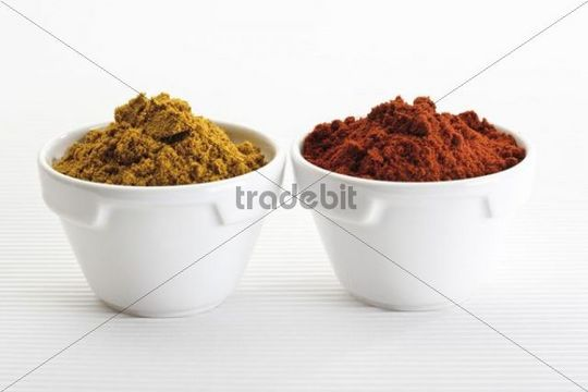 Spices in small porcelain bowls, curry powder, paprika powder