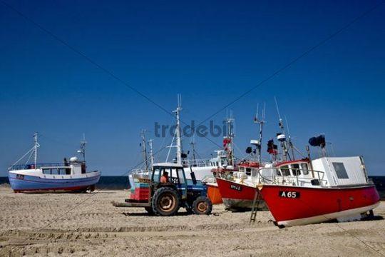 Fishing cutters on the beach, Jutland, Denmark