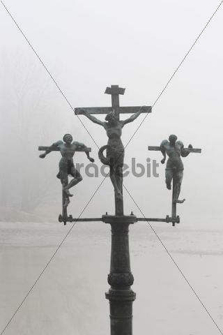 Crucifixion of Jesus Christ, INRI, passage to Mainau island, Lake Constance, Baden-Wuerttemberg, Germany