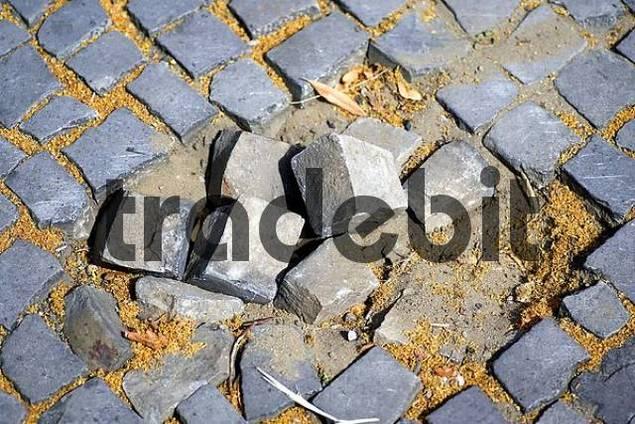 defect old street in Berlin