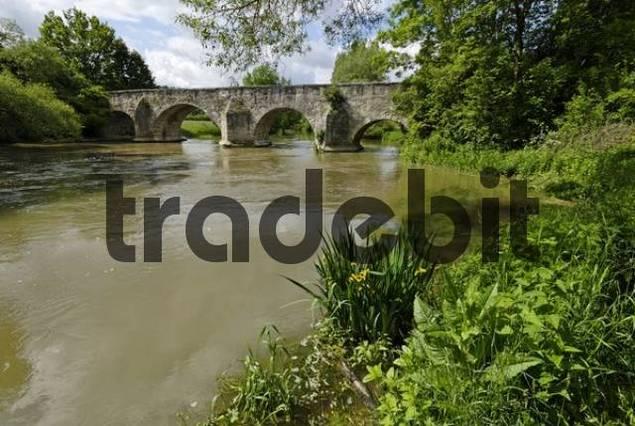 Pfuenz in the Altmuehl valley Upper Bavaria Germany mediaeval bridge across the river Altmuehl built 1486