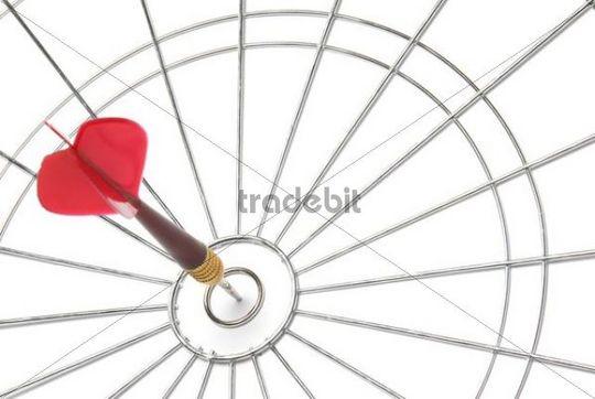 Red dart in white dart board