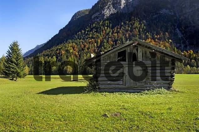 cabin barn in the Leutasch valley near Seefeld Tyrol Austria