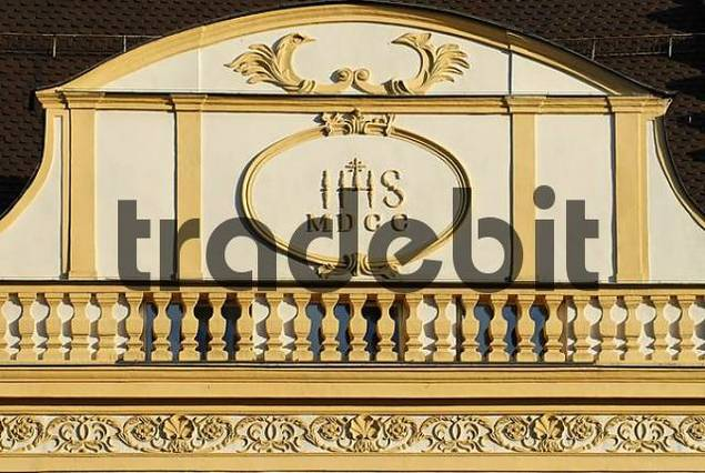 Straubing Lower Bavaria Germany town square detail of a facade
