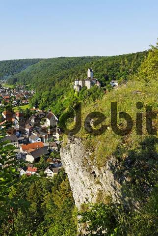Kipfenberg district of Eichstaett Upper Bavaria Germany in the valley of the river Altmuehl castle and town seen from the Michaelsberg mountain of St. Michael