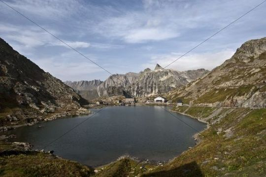 Great St Bernard Pass and Lake Lac du col grande San Bernard, Valais, Switzerland,