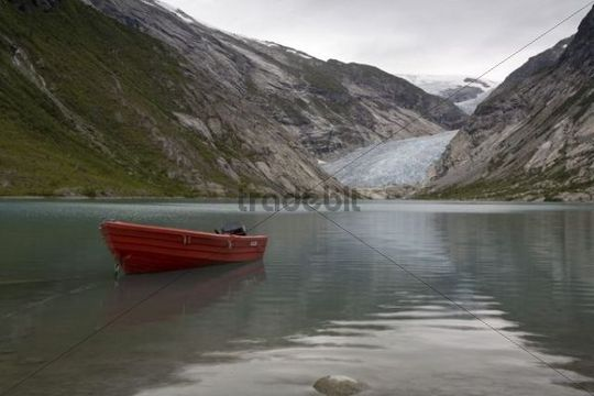 The Glacier tongue Nigardsbreen with Lake Nigardsbreenvatnet, Jostedalsbreen, Sogn og Fjordane, Norway