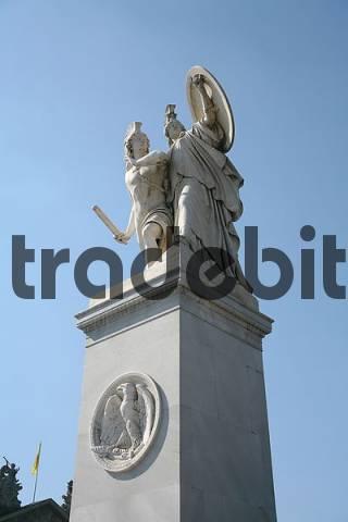 Athene encourages the warrior in the fight by Albert Wolff, 1853, one of the eight angel statues from Karl Friedrich Schinkel on the Schlossbrücke between Unter den Linden and Karl-Liebknecht
