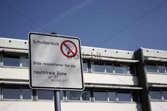 No-smoking-zone at the Wieland secondary school in Biberach an der Riss, Upper Swabia, Baden-Wurttemberg, Germany, Europe