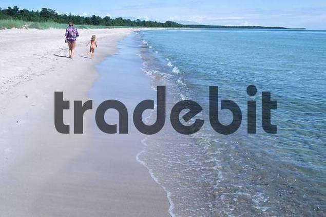 Woman with child at beach, Oland, Sweden