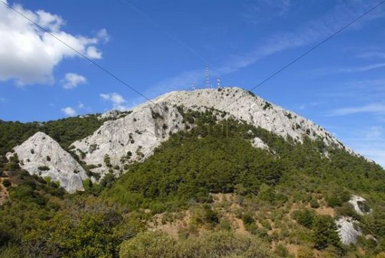 White rocks above a mountain forest, Olymbos Mountain with a transmission mast, Lesbos, Aegean Sea, Greece, Europe