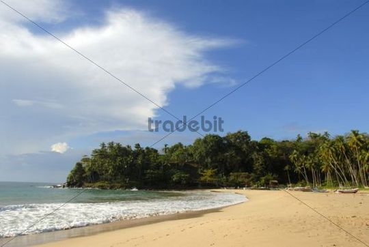 Dream beach, bay with sandy beach, Talalla near Dondra, Indian Ocean, Ceylon, Sri Lanka, South Asia, Asia