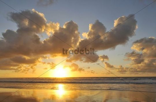 Sunset and cloudy sky with reflection on the Atlantic, Fuerteventura, Canary Islands, Spain, Europe