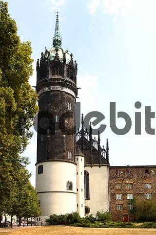 Church tower, Schlosskirche, castel church, Saxony-Anhalt, Deutschland, Europe