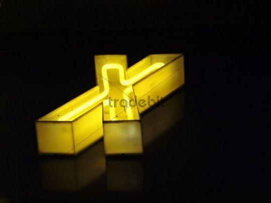 Letter X, store logo, neon