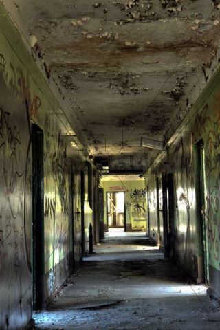 Corridor in an old ruin, Berlin, Germany